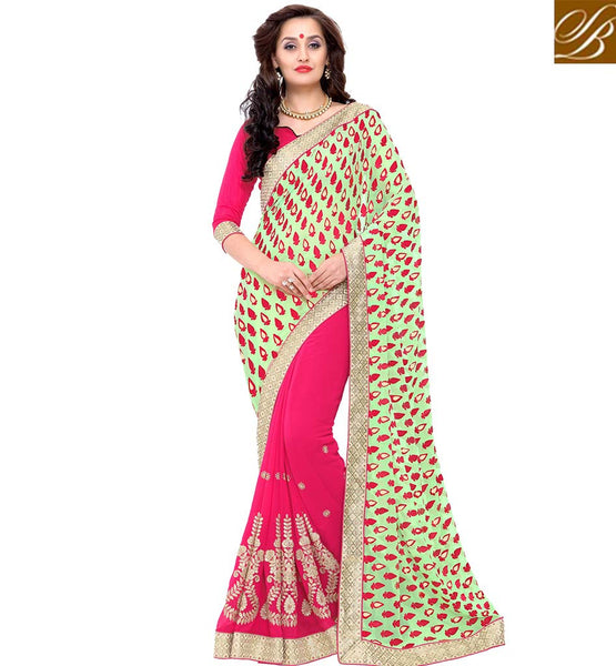 STYLISH BAZAAR PINK AND GREEN DESIGNER SAREE WITH WELL DESIGNED PALLU VDSYH10358