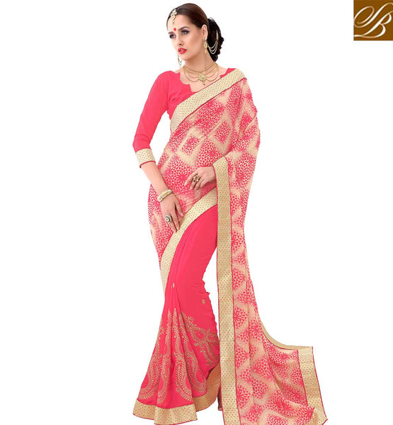 STYLISH BAZAAR SPLENDID PINK EMBROIDERED SAREE WITH SUPERB DESIGNED PALLU VDSYH10360