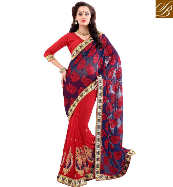 STYLISH BAZAAR MAGNETIC DESIGNER SAREE WITH WELL DESIGNED BLUE PALLU VDSYH10361