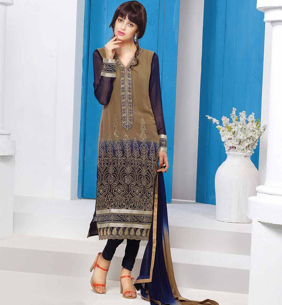 PREMIUM QUALITY SALWAR KAMEEZ ONLINE SHOPPING  WONDERFUL CHIKOO AND BLUE GEORGETTE SUIT WITH SANTOON SALWAR AND CHIFFON DUPATTA