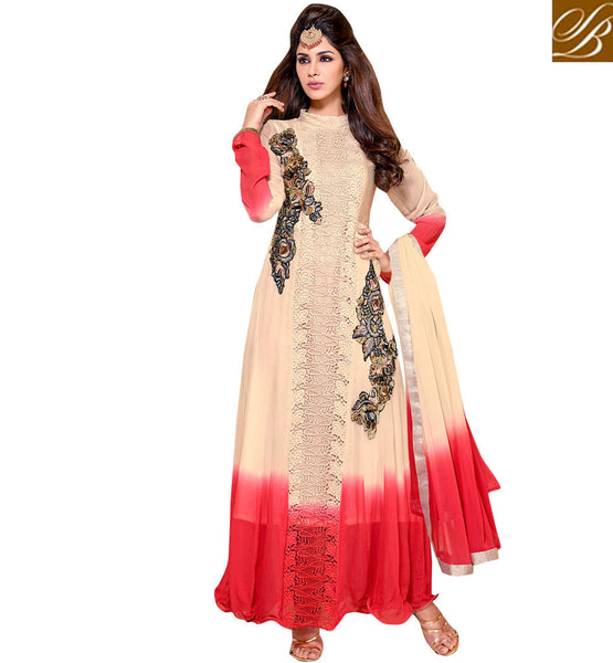PRETTY BEIGE & RED OCCASION WEAR DRESS WITH SHADED CHIFFON DUPATTA VDSMR1037