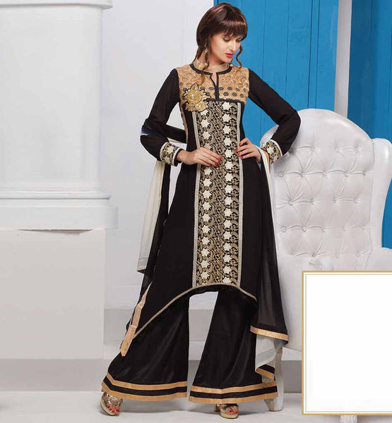 BUY DESIGNER SALWAR KAMEEZ ONLINE FOR WOMEN LOVELY BLACK DESIGNER GEORGETTE SALWAR SUIT WITH SANTOON BOTTOM AND CHIFFON ODHNI