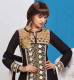 LOVELY BLACK DESIGNER GEORGETTE SALWAR SUIT WITH SANTOON BOTTOM AND CHIFFON ODHNI PREPARE YOURSELF FOR ALL LOVELY COMPLEMENTS BY  WEARING THIS DRESS FROM THE HOUSE OF STYLISH