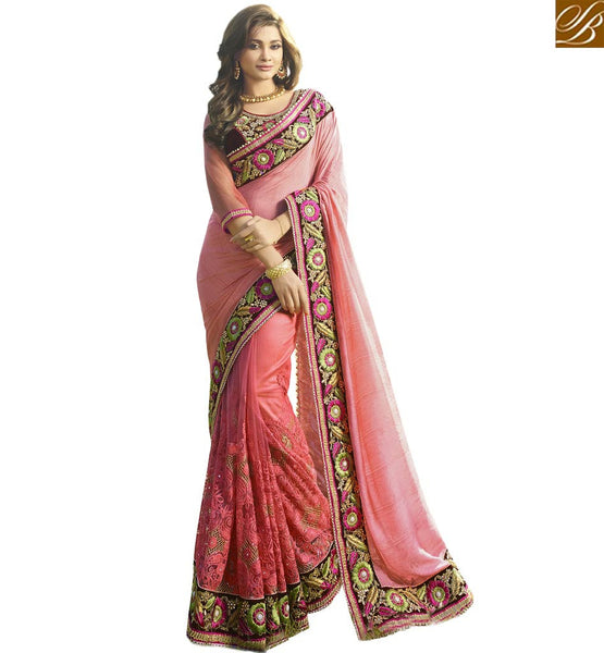 STYLISH BAZAAR PINK DESIGNER SAREE BLOUSE WITH HEAVY EMBROIDERED VDGRC10393