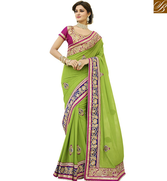 STYLISH BAZAAR WONDERFUL GREEN PARTY WEAR SAREE VDGRC10395