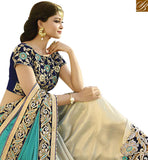 FROM STYLISH BAZAAR GOOD LOOKING CREAM AND BLUE DESIGNER SAREE WITH HEAVY EMBROIDERED BLOUSE VDGRC10397