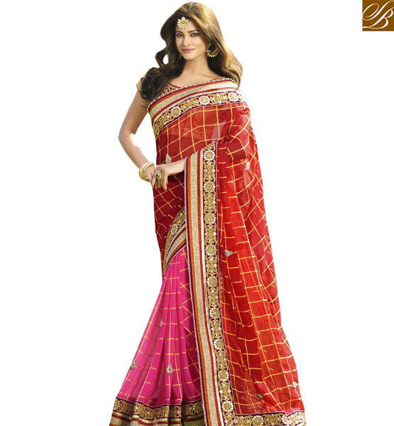 STYLISH BAZAAR PINK AND RED PREMIUM DESIGNER SAREE VDGRC10398