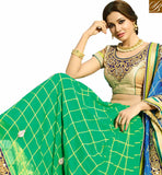 BROUGHT TO YOU BY STYLISH BAZAAR GREEN AND BLUE DESIGNER SAREE WITH EMBROIDERED BLOUSE VDGRC10399