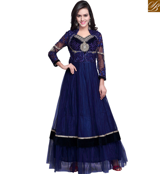 STYLISH BAZAAR CAPTIVATING NAVY BLUE HEAVILY EMBROIDERED DRESS RTCTR103