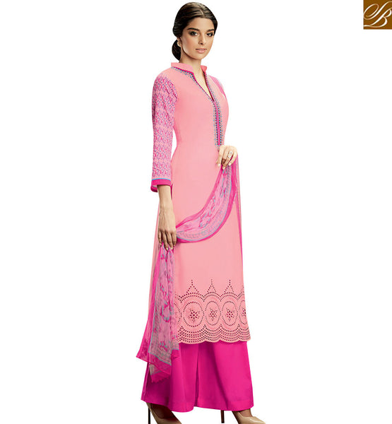 STYLISH BAZAAR PINK DELIGHTFUL COLOR COTTON PLAZZO SUIT WITH MULTI COLOR PRINTED DUPATTA KMV103