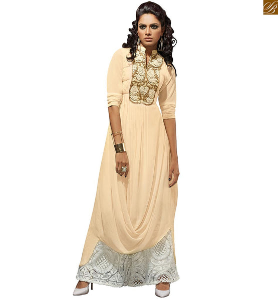 High collar ladies kurti online shopping india at reasonable rate cream faux-georgette short bishop-sleeves designer kurti with embroidery work on upper part PHOTO