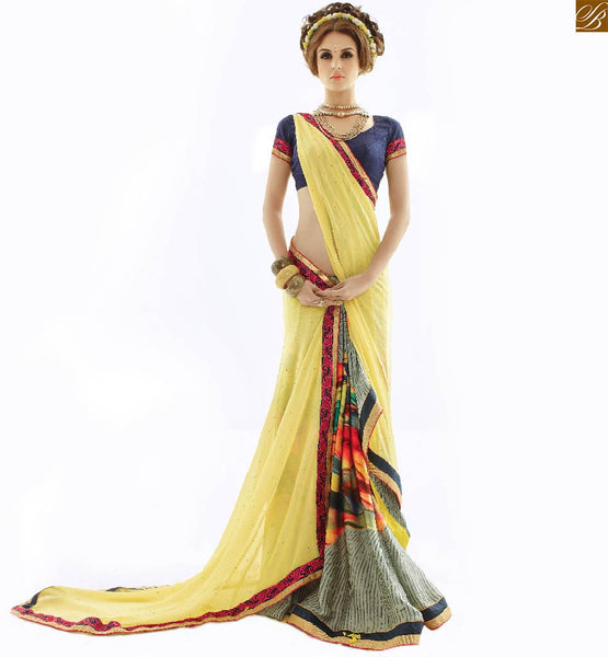 Cool half saree colour combinations with designer blouses pattern yellow georgette and chiffon amazing printed indian casual saree with blue designer blouse