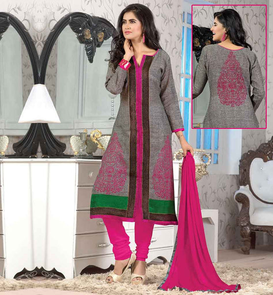 PAKISTANI-NEW-DRESSES-2015-BEST-SHALWAR-KAMEEZ-DESIGNS--SUITS-FOR-WOMEN-FANTASTIC-GREY-JUTE-COTTON-TOP-WITH-PINK-BOTTOM-AND-DESIGNER-CHIFFON-DUPATTA