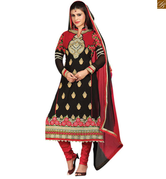 Punjabi suit pattern of pakistani dresses shalwar kameez dupatta maroon and black georgette heavy floral embroidered shalwar kameez with matching churidar bottom Image