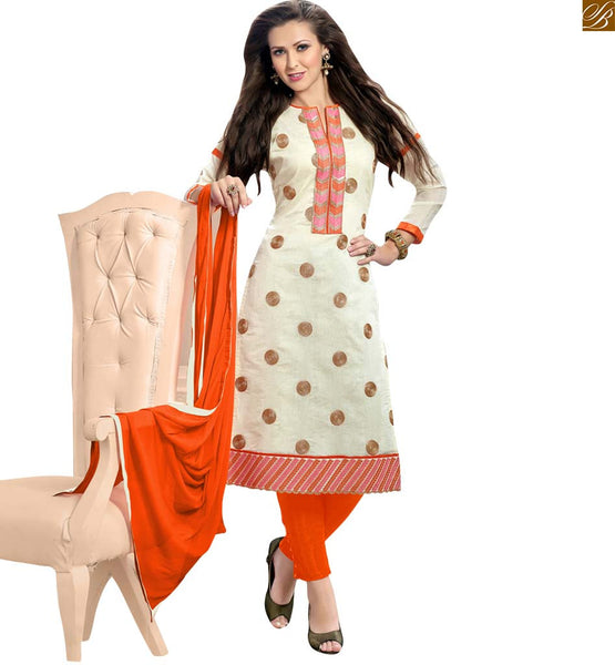 Straight cut casual suit with orange dupatta off-white chanderi v type design neck with embroidered patch work at neck line on this salwar kameez. Beautiful looking floral embroidery work at all over this dress Pic