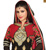 Attractive punjabi suit pattern for daily wear. These gorgeous pakistani dresses shalwar kameez dupatta are perfect for parties and are very reasonably priced maroon and black georgette heavy floral embroidered shalwar kameez with matching churidar bottom Photo