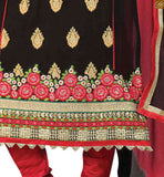 Maroon and black georgette heavy floral embroidered shalwar kameez with matching churidar bottom Pic