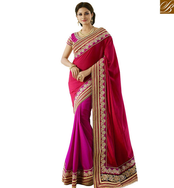 STYLISH BAZAAR BEAUTEOUS PINK DESIGNER SAREE WITH MODERN BLOUSE VDGRC10402