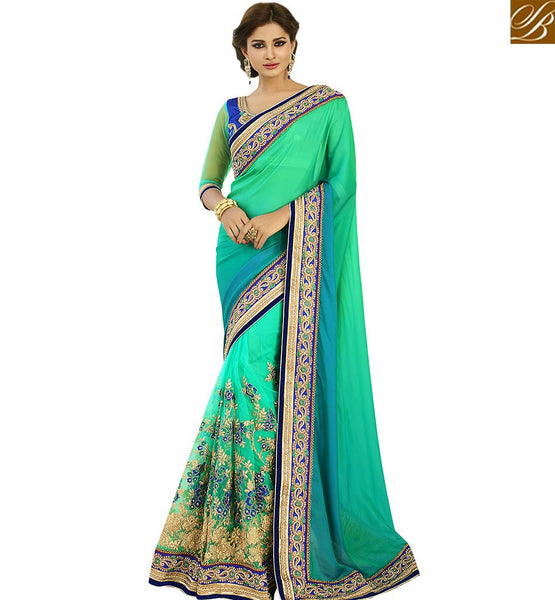 STYLISH BAZAAR STUNNING SEA GREEN HEAVILY EMBROIDERED SAREE VDGRC10409
