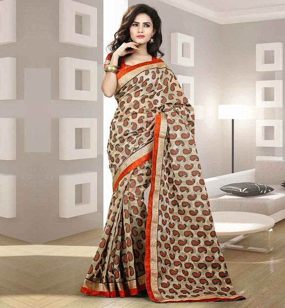 COTTON SAREES ONLINE SHOPPING INDIA CASH ON DELIVERY BEIGE PARTY WEAR SARI WITH ORANGE BLOUSE