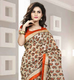 BEIGE PARTY WEAR SARI WITH ORANGE BLOUSE  COTTON WOVEN SARI WITH PURE DUPION BLOUSE
