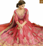 A STYLISH BAZAAR PRESENTATION FASIONABLE NEW PINK EMBROIDERED SAREE WITH ATTRACTIVE BLOUSE VDGRC10411