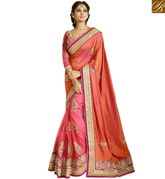 STYLISH BAZAAR FASIONABLE NEW PINK EMBROIDERED SAREE WITH ATTRACTIVE BLOUSE VDGRC10411
