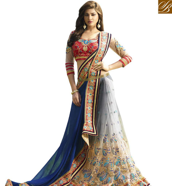 STYLISH BAZAAR CAPTIVATING GREY EMBROIDERED SAREE AND BLOUSE VDGRC10413