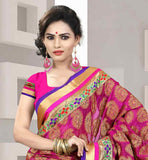 TISSUE FABRIC SARI WITH PURE DUPION BLOUSE PINK AND BEIGE EMBROIDERED SARI WITH MATCHING BLOUSE