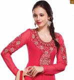 PINK DESIGNER EMBROIDERED KAMEEZ COUPLED WITH CREAM SALWAR
