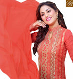 FROM HOUSE OF STYLISH BAZAAR CLASSY ORANGE DESIGNER AKSHARA HINA KHAN SALWAR KAMEEZ VDDYA10442