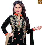 A STYLISH BAZAAR PRESENTATION ELEGANT BLACK DISPLAYING SALWAR KAMEEZ DUPATTA VDDYA10444
