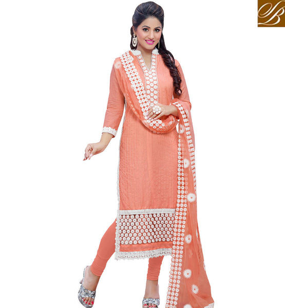 STYLISH BAZAAR FASCINATING PEACH AKSHARA DESIGNER SALWAR KAMEEZ VDDYA10449