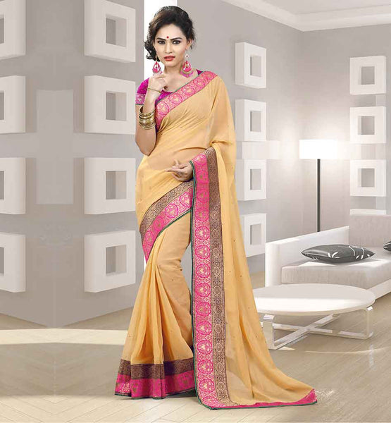 CHIFFON SARIS ONLINE SHOPPING INDIA CASH ON DELIVERY BEIGE PARTY WEAR SARI WITH STONE WORK AND PINK BLOUSE