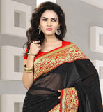BLACK STONE WORK AND RICH BORDER SARI WITH CONTRAST ORANGE BLOUSE GOOD LOOKING INDIAN DESIGNER SARI FOR PARTIES WITH PURE DUPION CHOLI