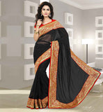 BUY PARTY WEAR CHIFFON SAREE WITH DUPION BLOUSE BLACK STONE WORK AND RICH BORDER SARI WITH CONTRAST ORANGE BLOUSE