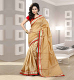 LATEST FASHION SARIS WITH BLOUSE BUY ONLINE IN SURAT STUNNING BEIGE SAREE- RED BLOUSE COMBO  WITH STONE WORK AND LACE BORDER APPLIED ON IT