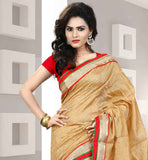 STUNNING BEIGE SAREE- RED BLOUSE COMBO  WITH STONE WORK AND LACE BORDER APPLIED ON IT  EXCITING COTTON JACQUARD SARI WITH PURE DUPION CHOLI