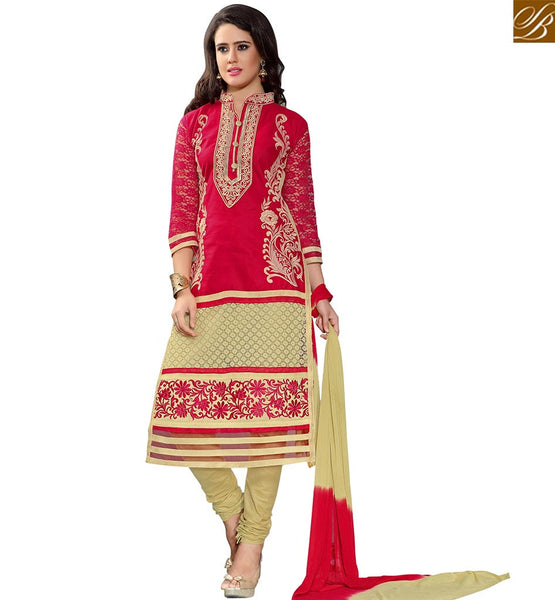 STYLISH BAZAAR MAGNIFICENT RED & BEIGE COLORED DESIGNER SALWAR SUIT VDASI10477