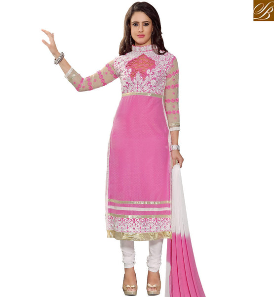 STYLISH BAZAAR GLAMOROUS PINK & WHITE COLORED SALWAR SUIT WITH EYE CATCHING PATCH BORDER WORK VDASI10479