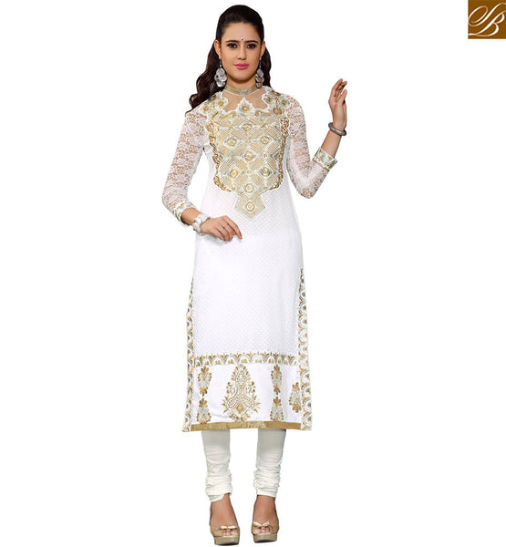 STYLISH BAZAAR ATTRACTIVE WHITE & CREAM COLORED PARTY WEAR SALWAR KAMMEZ VDASI10480