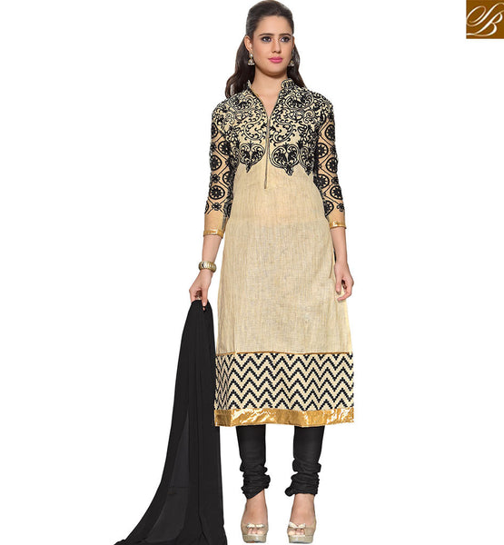 STYLISH BAZAAR PERFECT LOOKING BLACK & BEIGE COLORED SALWAR KAMMEZ FOR THIS SUMMER VDASI10481