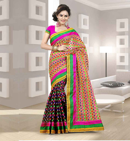 DESIGNER COTTON SAREES ONLINE SHOPPING WITH BLOUSE BLACK AND BEIGE COTTON SARI WITH MULTICOLOR FLORAL WEAVING AND PINK BLOUSE