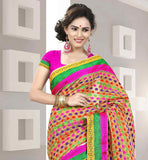 BLACK AND BEIGE COTTON SARI WITH MULTICOLOR FLORAL WEAVING AND PINK BLOUSE DESIGNER COTTON SARI WITH PURE DUPION BLOUSE FROM STYLISH BAZAAR