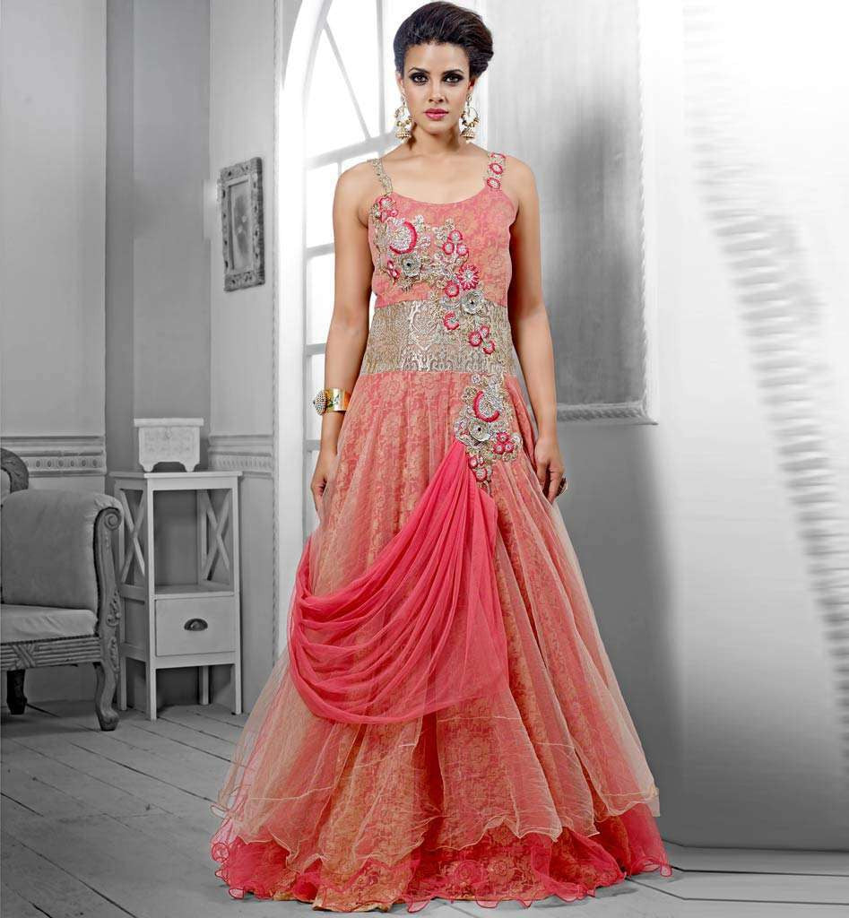 c74cbab2becb ... Indian India Bridal Gowns: DUSTY PINK GOWN VDPAK1049