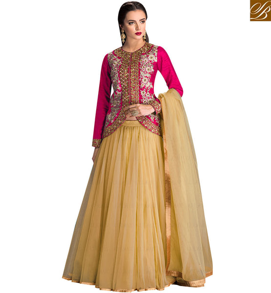 STYLISH BAZAAR TRENDY PINK COLORED DESIGNER LEHENGA FLORAL WITH WORK SLGLZ104