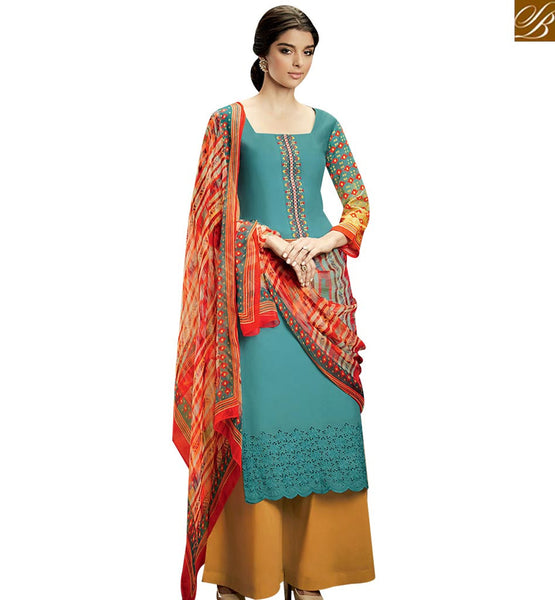 STYLISH BAZAAR EXCELLENT SKY BLUE COLOR AND BOTTOM MUSTARD PLAZZO SUIT WITH MULTI COLOR DUPATTA KMV104