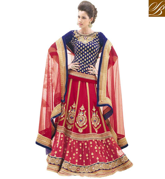 MAJESTIC MAROON DESIGNER 3PC BRIDAL WEAR LEHENGA CHOLI SUIT RTBU104