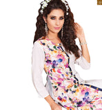STYLISH BAZAAR INTRODUCES PRETTY WHITE FLORAL PRINT KURTI DESIGN RTVIN105