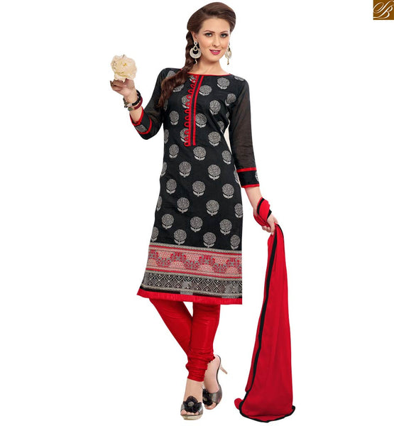 Black colored casual chanderi straight cut suit black chanderi eye-catching floral embroidered designer salwar kameez. Three fourth type sleeves with border line Image